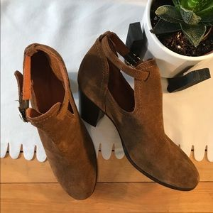 Frye brown suede cutout heeled booties